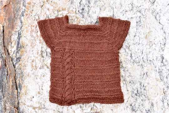71997fc186a6 Cables and Purls Short sleeve Alpaca Baby Sweater - PacaNaturals